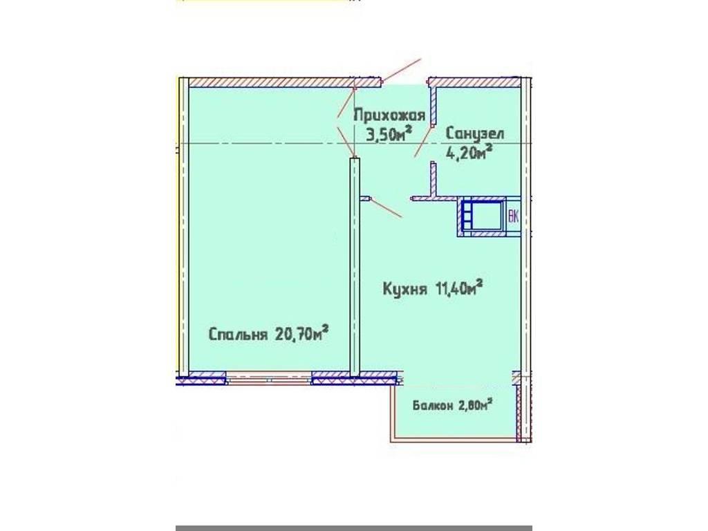 1-комнатная квартира, 40.60 м2, 53000 у.е.