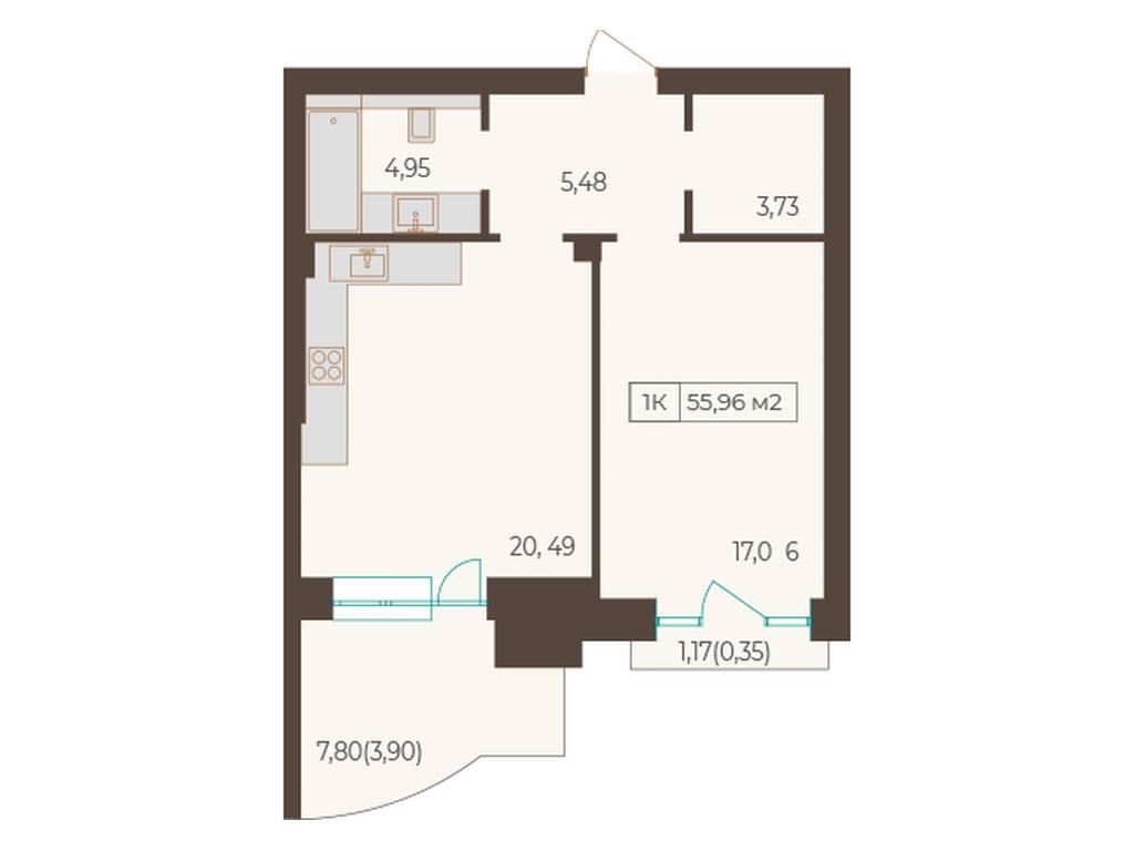 1-комнатная квартира, 55.96 м2, 10728 у.е.