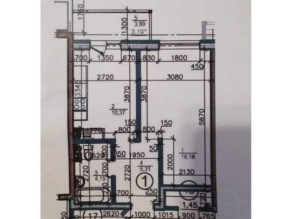 1-комнатная квартира, 39.20 м2, 25500 у.е.