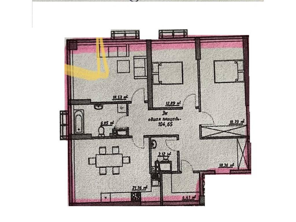 3-комнатная квартира, 105.00 м2, 104000 у.е.