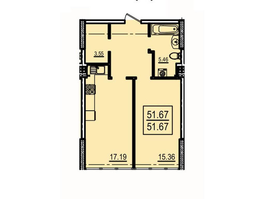 1-комнатная квартира, 51.67 м2, 82672 у.е.