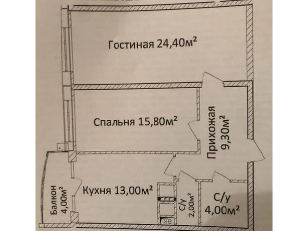 2-комнатная квартира, 72.00 м2, 74000 у.е.