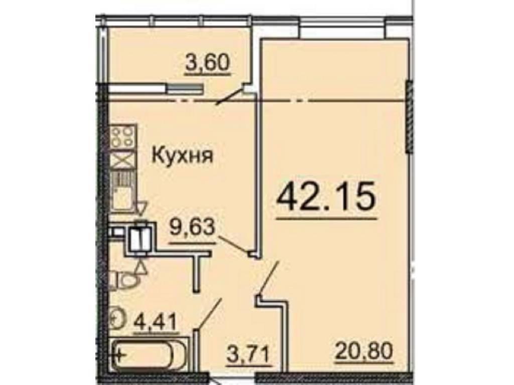 1-комнатная квартира, 42.35 м2, 36209 у.е.