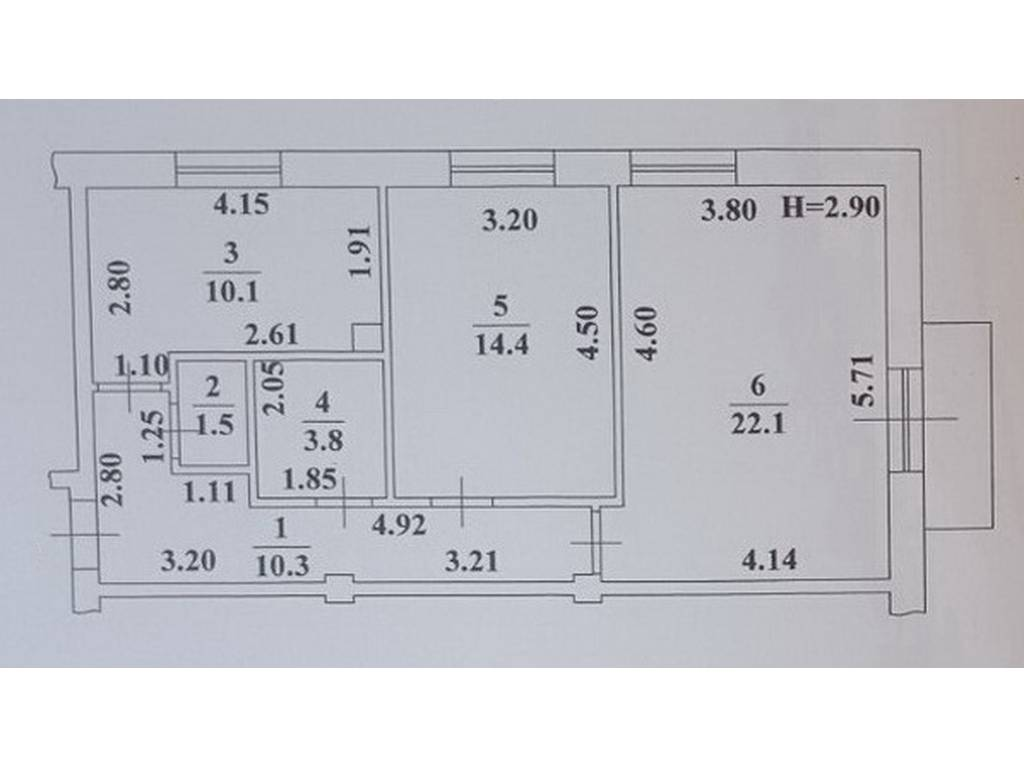 2-комнатная квартира, 63.10 м2, 50480 у.е.