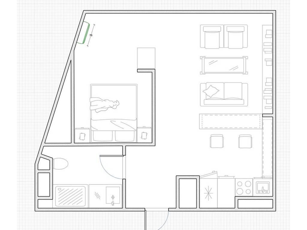 1-комнатная квартира, 45.00 м2, 60000 у.е.