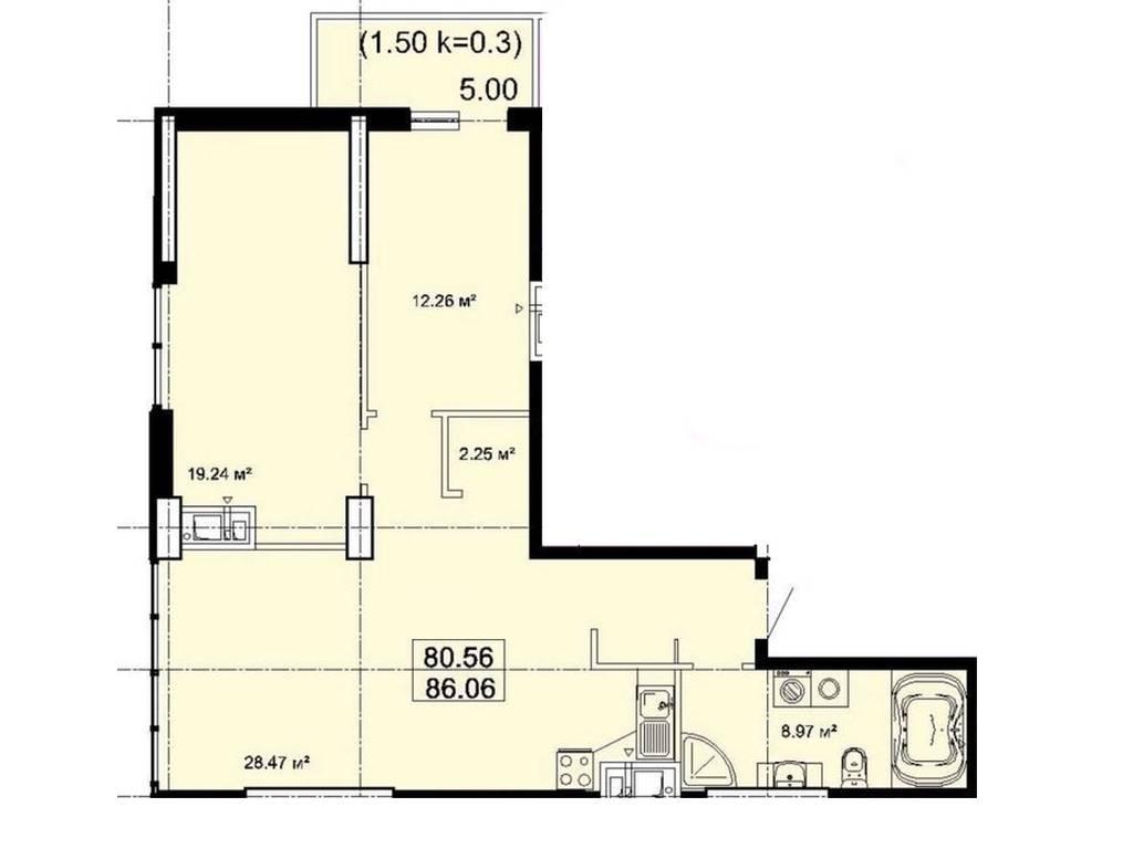 2-комнатная квартира, 84.00 м2, 91000 у.е.