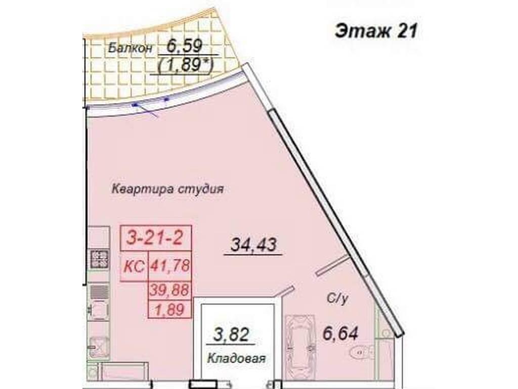 1-комнатная квартира, 47.00 м2, 90000 у.е.