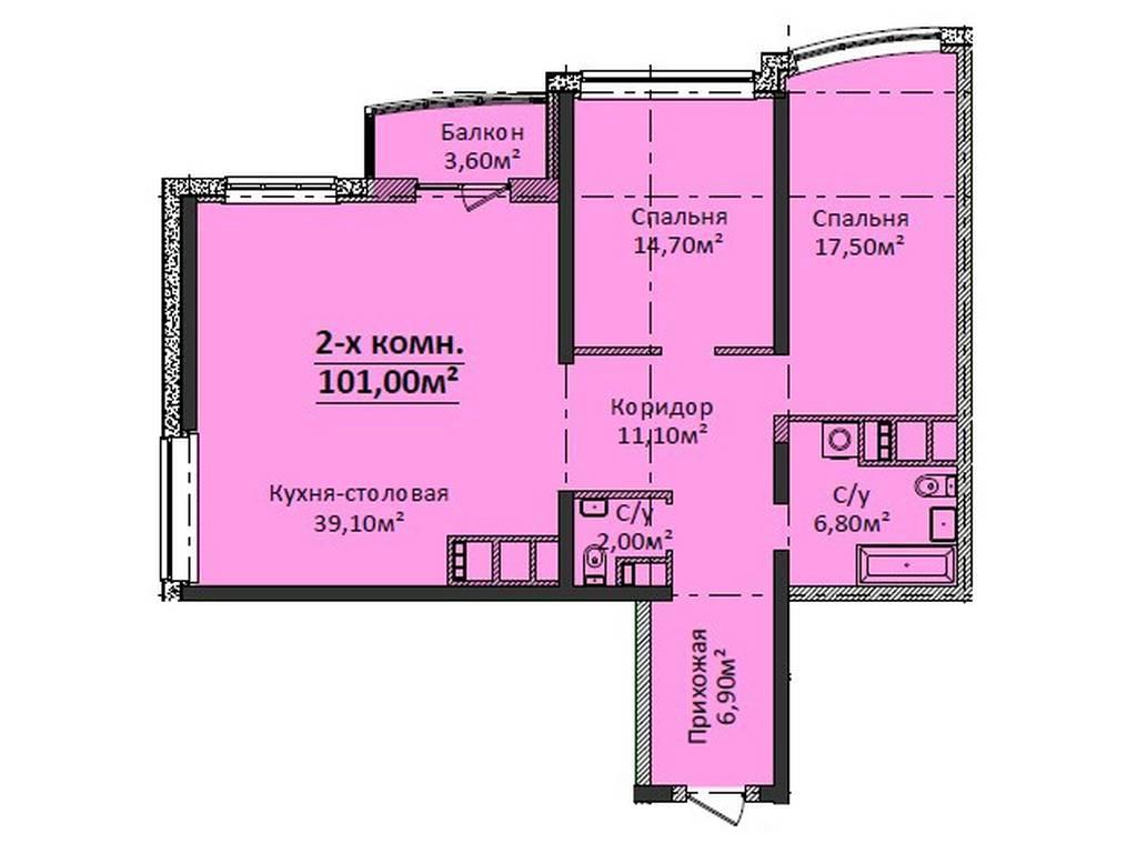 2-комнатная квартира, 101.00 м2, 105500 у.е.