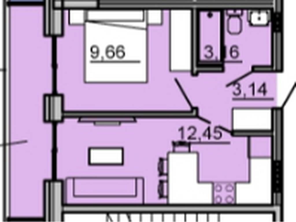 1-комнатная квартира, 30.23 м2, 39000 у.е.