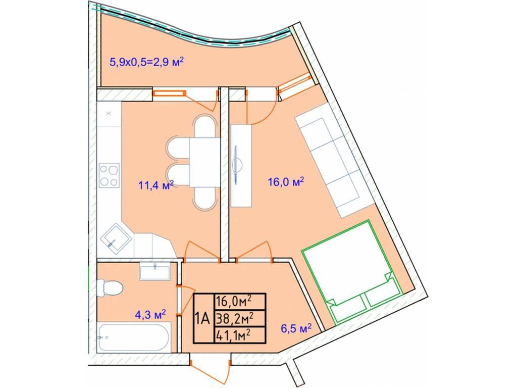 1-комнатная квартира, 43.30 м2, 38660 у.е.