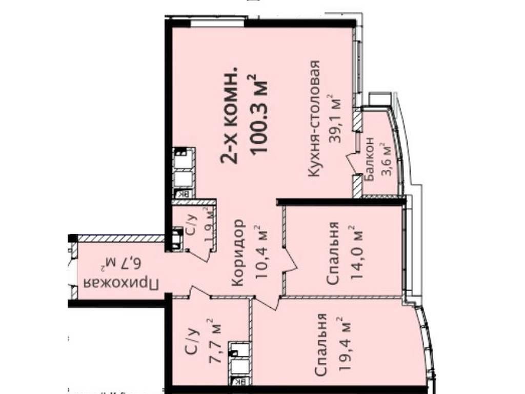 2-комнатная квартира, 100.30 м2, 147000 у.е.