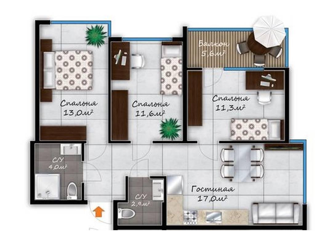 3-комнатная квартира, 68.28 м2, 67000 у.е.