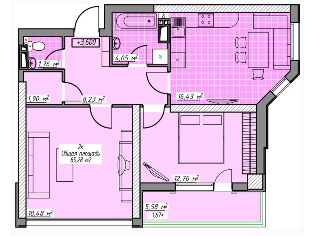 2-комнатная квартира, 66.00 м2, 70000 у.е.