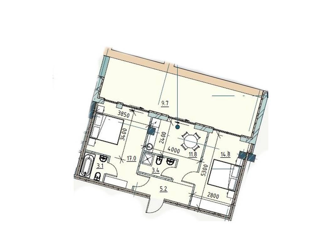 2-комнатная квартира, 65.90 м2, 151600 у.е.