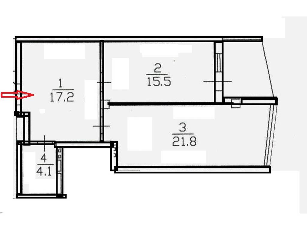1-комнатная квартира, 61.40 м2, 90870 у.е.