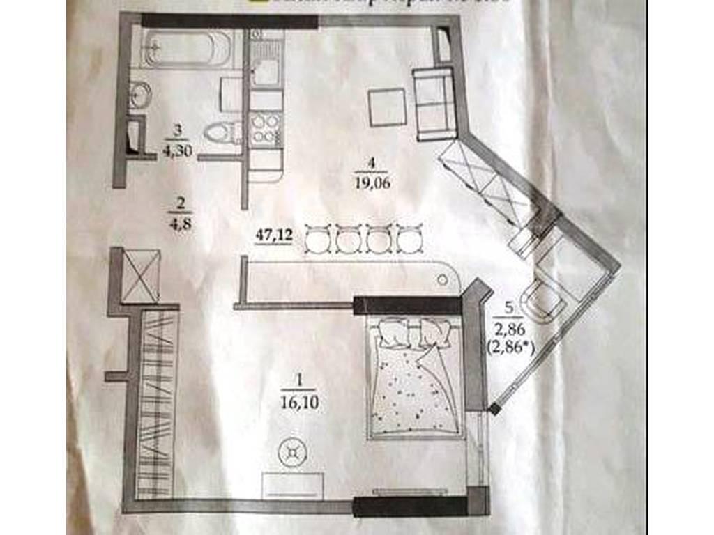 1-комнатная квартира, 48.00 м2, 36500 у.е.