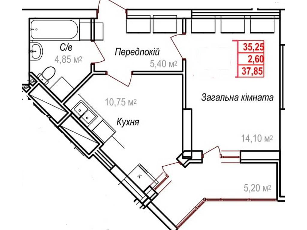 1-комнатная квартира, 37.85 м2, 28387 у.е.