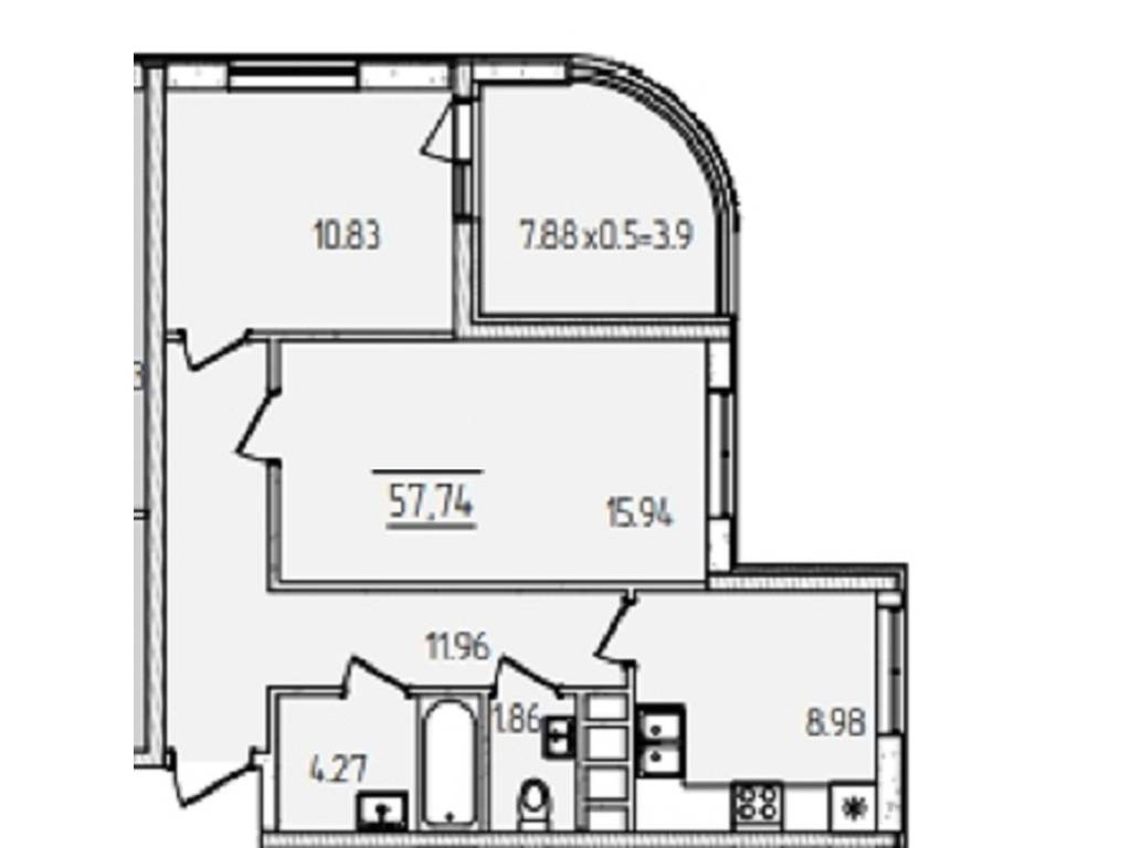 2-комнатная квартира, 57.74 м2, 49100 у.е.