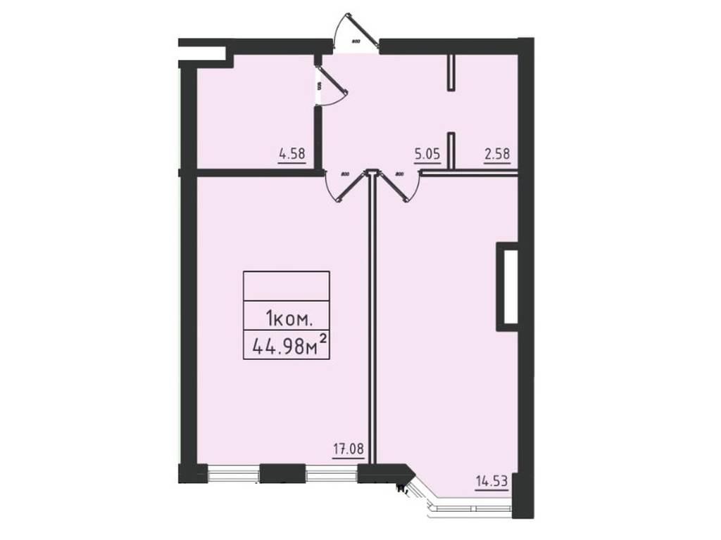 1-комнатная квартира, 47.10 м2, 36259 у.е.