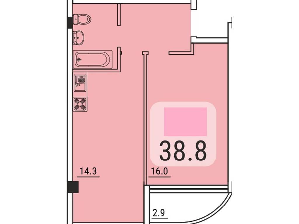 1-комнатная квартира, 38.80 м2, 37500 у.е.