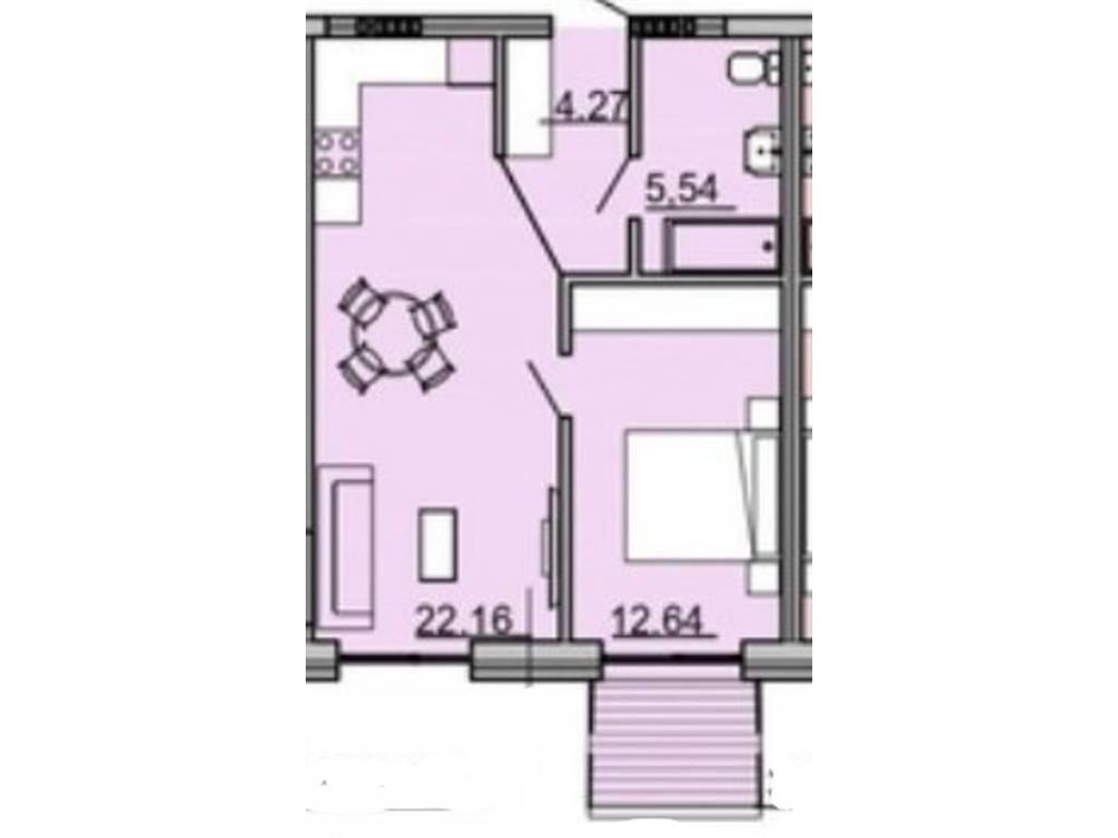 1-комнатная квартира, 45.67 м2, 52520 у.е.