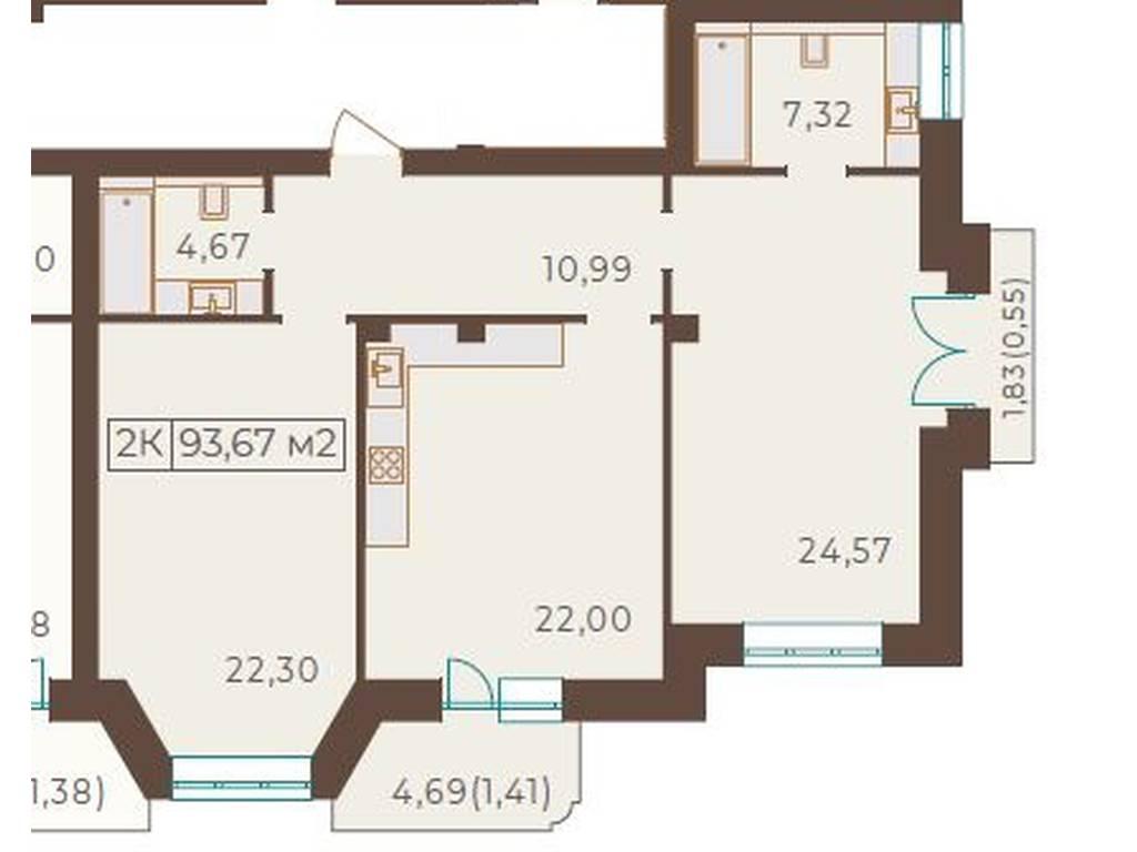 2-комнатная квартира, 87.90 м2, 158220 у.е.
