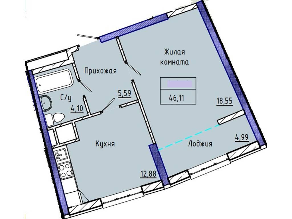 1-комнатная квартира, 46.40 м2, 42000 у.е.