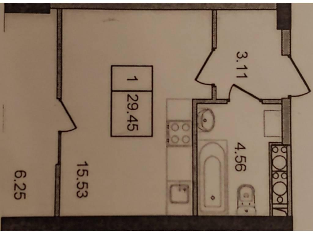 1-комнатная квартира, 29.45 м2, 22500 у.е.