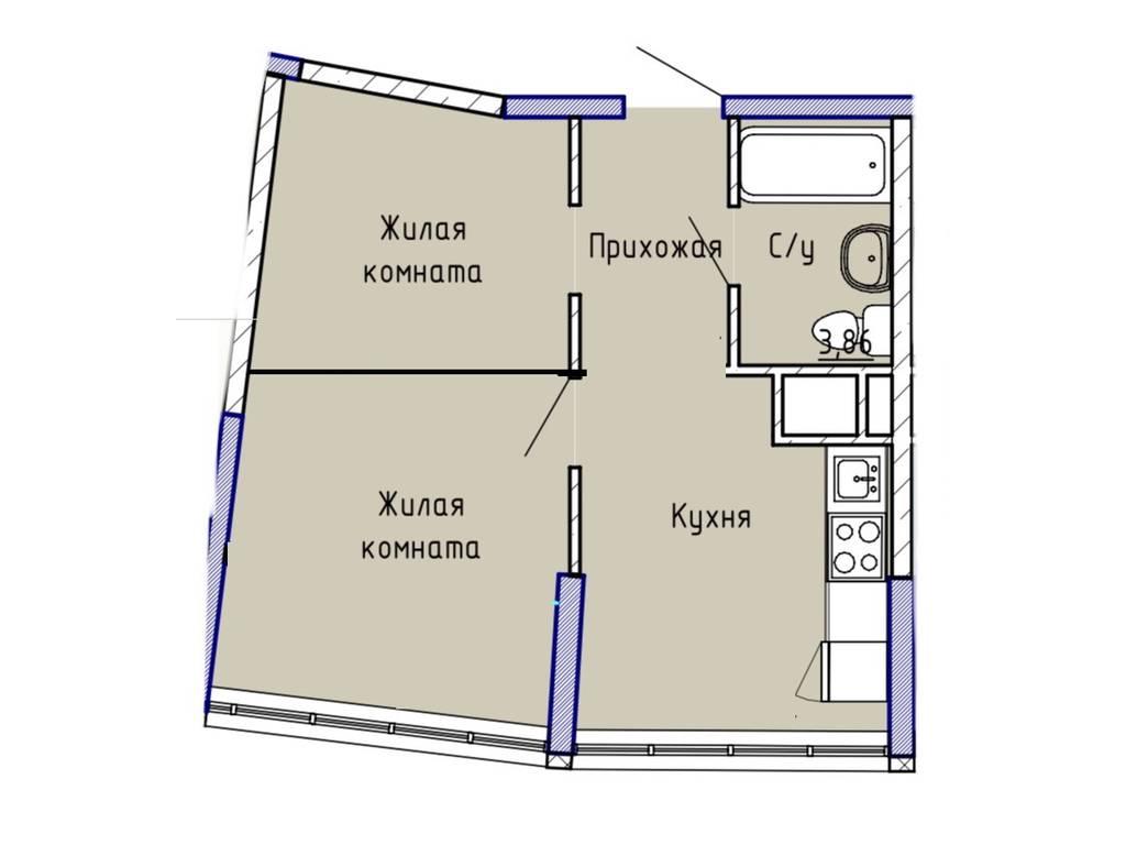 1-комнатная квартира, 39.00 м2, 60500 у.е.