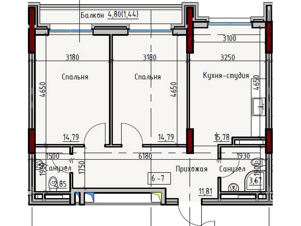 2-комнатная квартира, 65.00 м2, 73000 у.е.