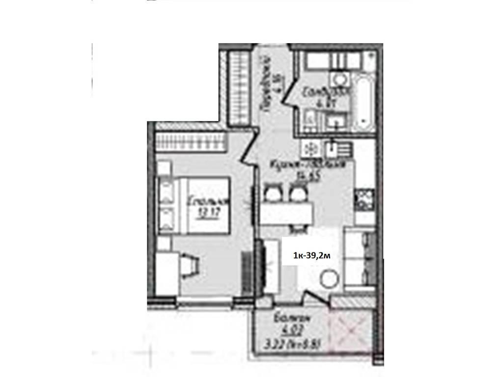1-комнатная квартира, 39.30 м2, 39104 у.е.