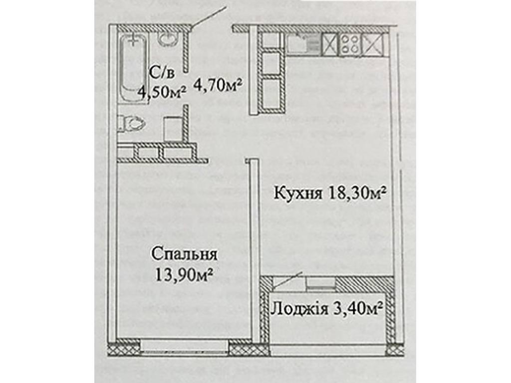 1-комнатная квартира, 43.10 м2, 36000 у.е.
