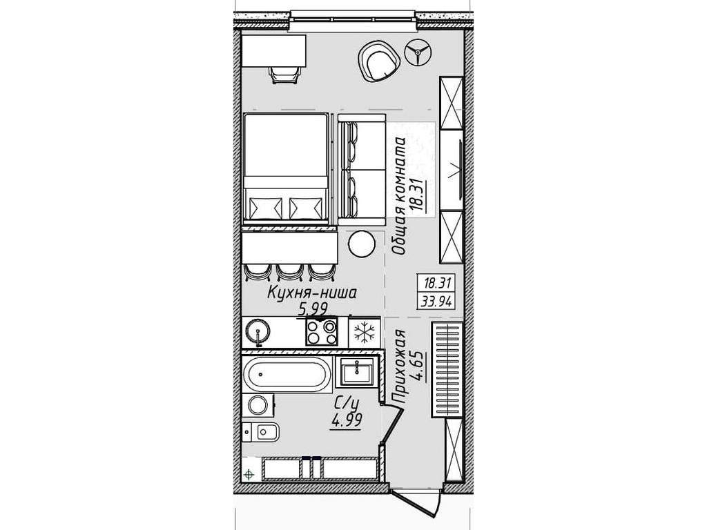 1-комнатная квартира, 34.00 м2, 36720 у.е.