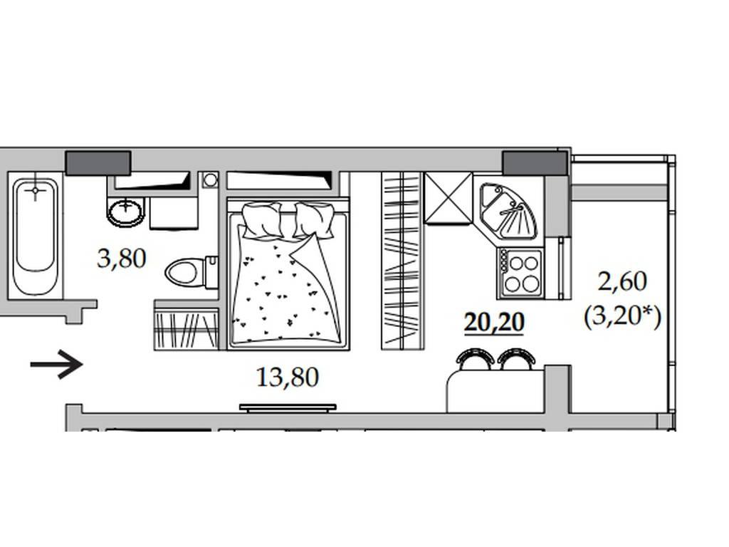 1-комнатная квартира, 20.70 м2, 15870 у.е.