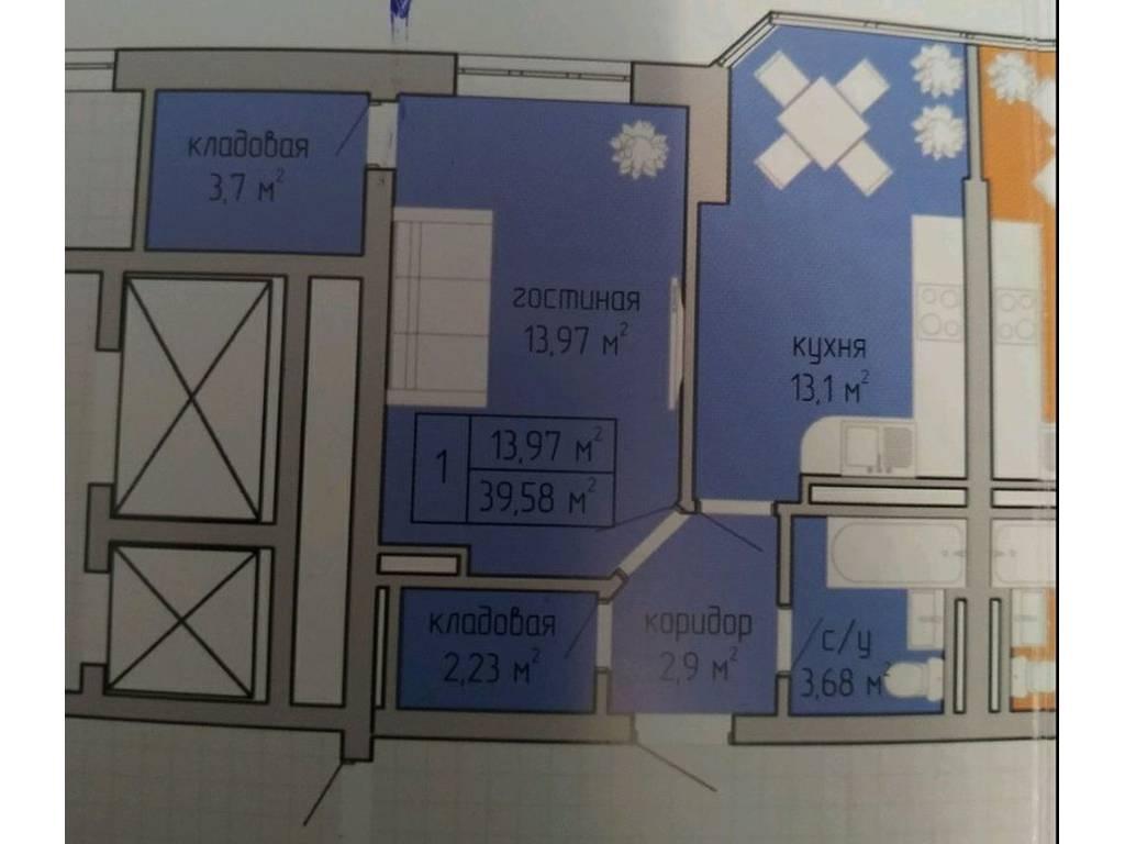 1-комнатная квартира, 40.90 м2, 27000 у.е.