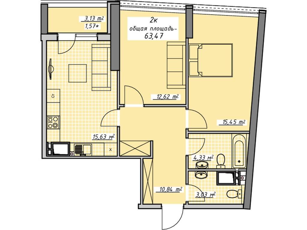 2-комнатная квартира, 63.00 м2, 60297 у.е.