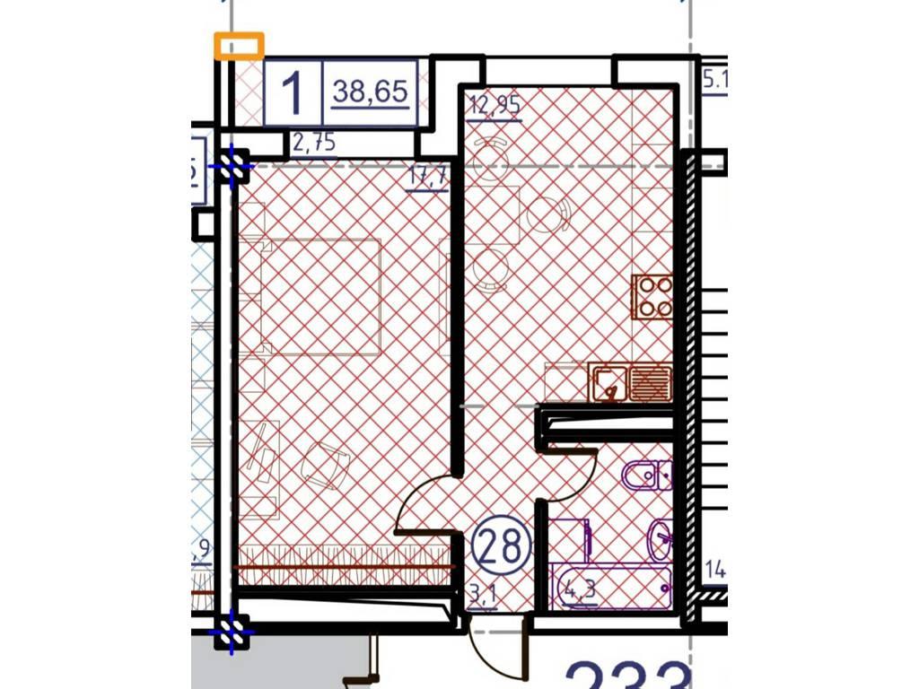 1-комнатная квартира, 38.65 м2, 43500 у.е.