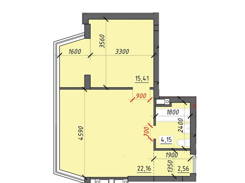 1-комнатная квартира, 44.75 м2, 28192 у.е.