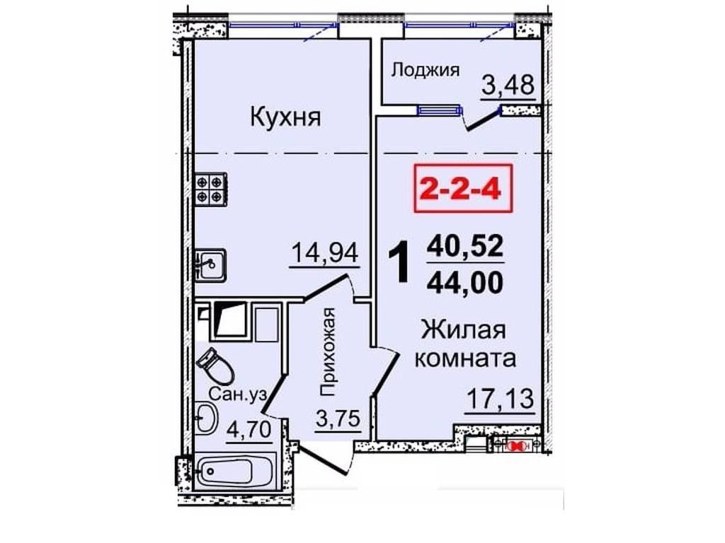 1-комнатная квартира, 44.00 м2, 32000 у.е.