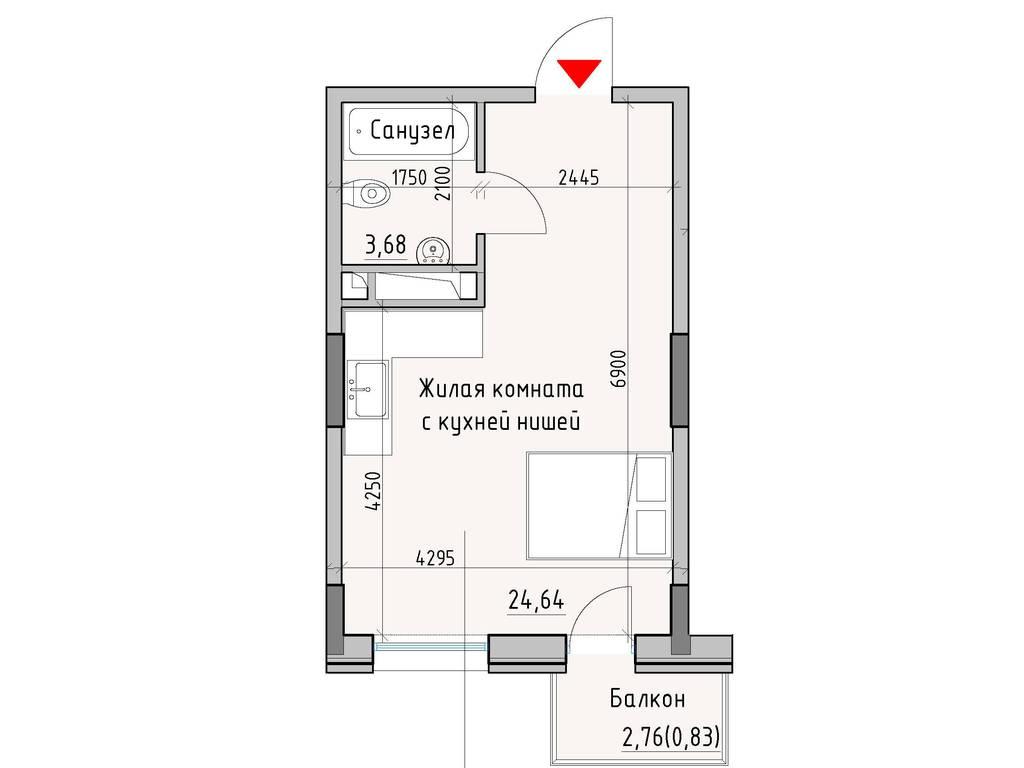 1-комнатная квартира, 29.15 м2, 26089 у.е.
