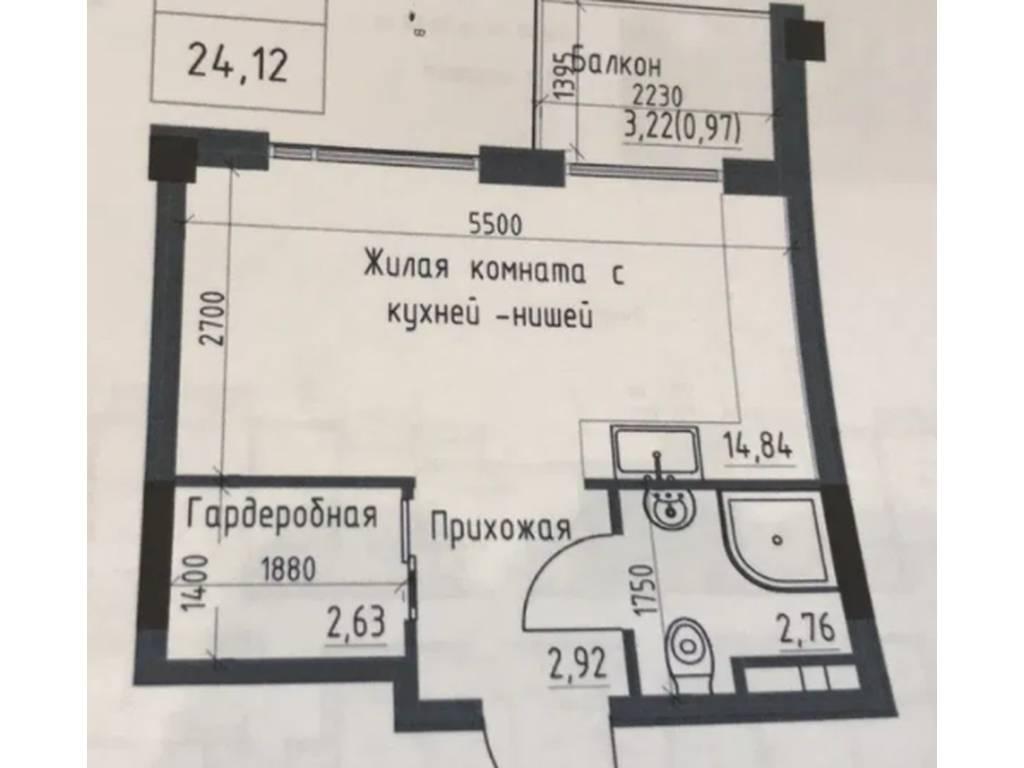 1-комнатная квартира, 24.12 м2, 31000 у.е.