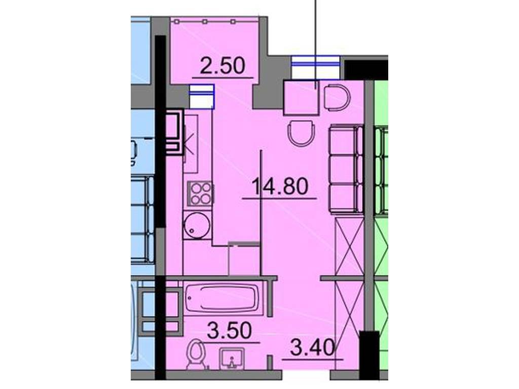 1-комнатная квартира, 22.95 м2, 22032 у.е.