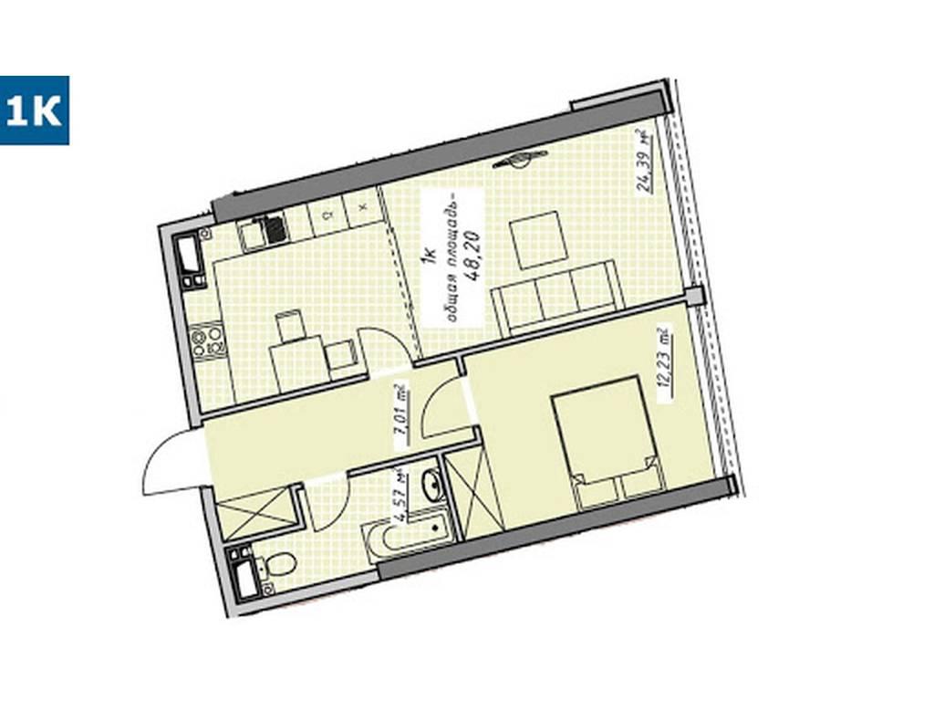 1-комнатная квартира, 48.22 м2, 40023 у.е.