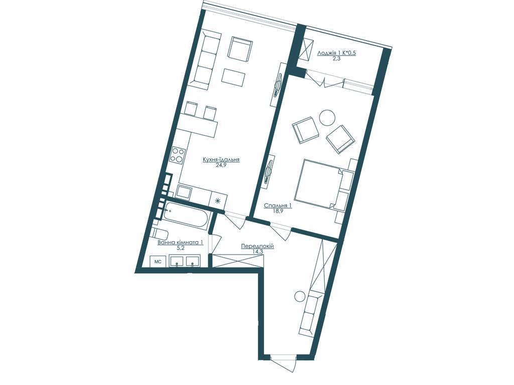 1-комнатная квартира, 66.50 м2, 109000 у.е.