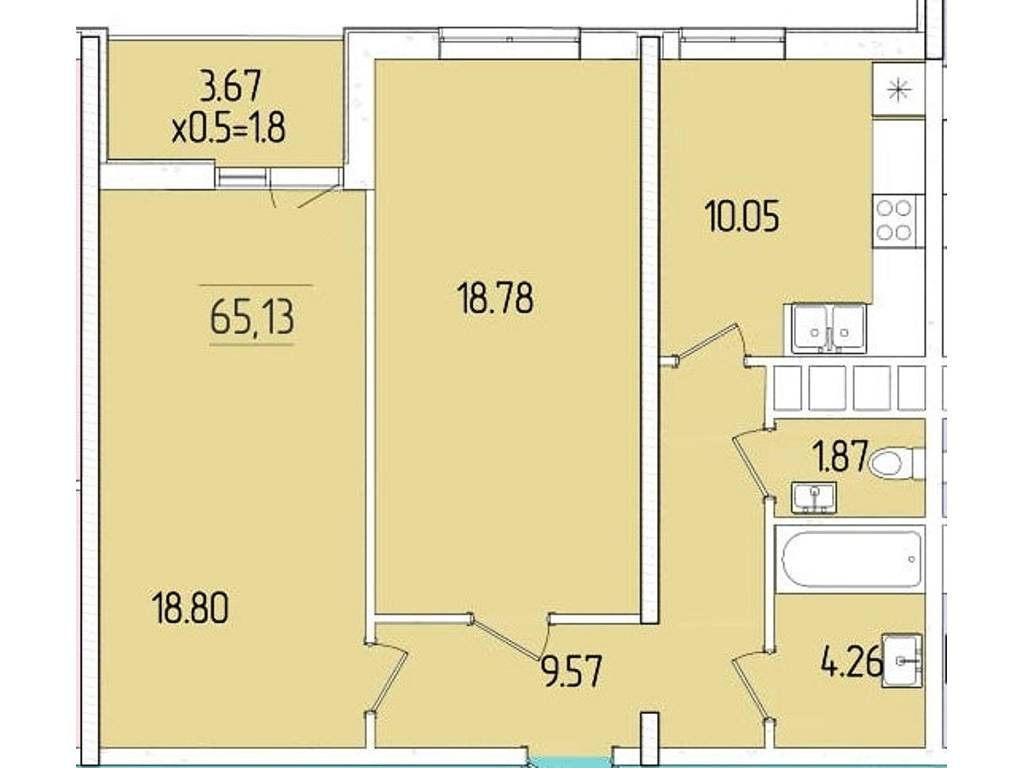 2-комнатная квартира, 65.13 м2, 59919 у.е.