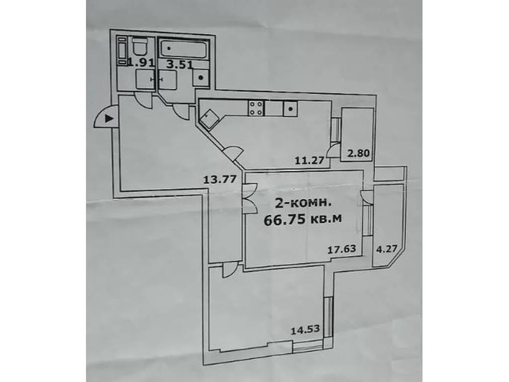 2-комнатная квартира, 66.80 м2, 59900 у.е.