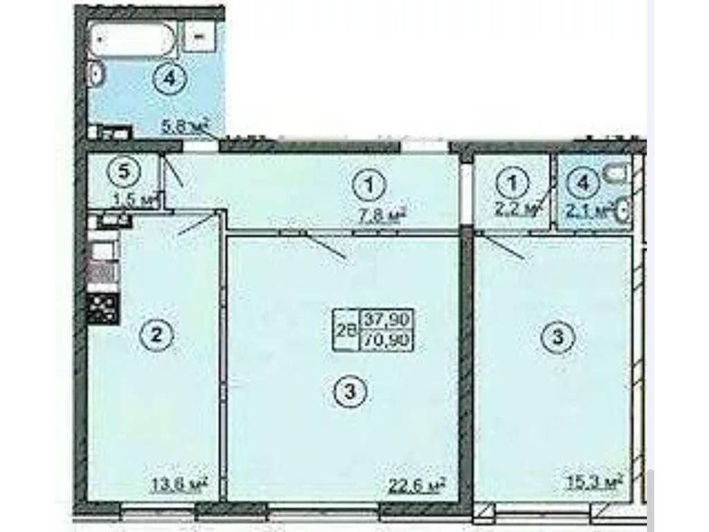 2-комнатная квартира, 71.00 м2, 51500 у.е.