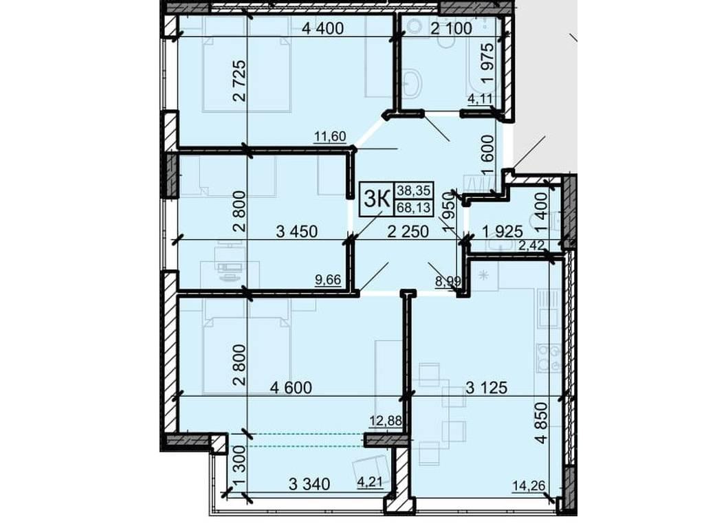 3-комнатная квартира, 68.13 м2, 40537 у.е.