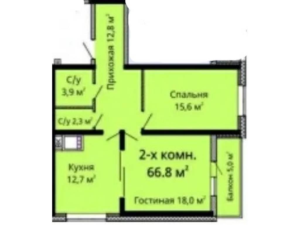 2-комнатная квартира, 68.00 м2, 57500 у.е.