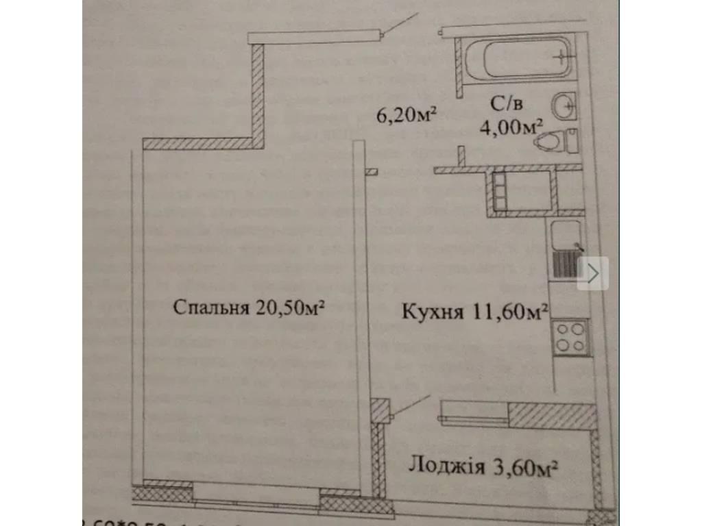 1-комнатная квартира, 44.00 м2, 38000 у.е.